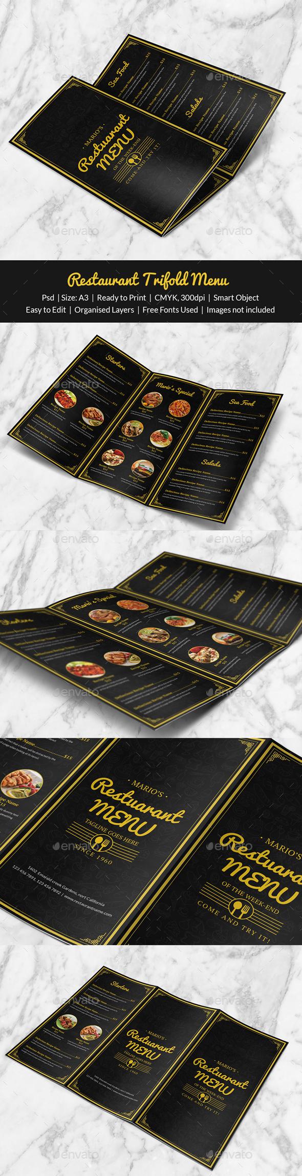 Restaurant Trifold Menu - Print Templates