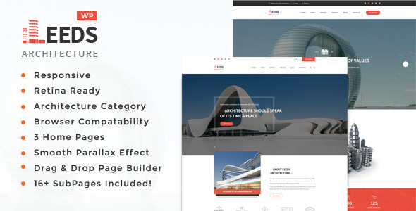 Leeds - Architecture, Interior and Design WordPress Theme - Business Corporate