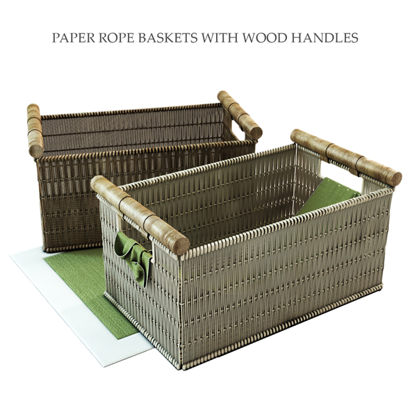 PAPER ROPE BASKETS WITH WOOD HANDLES - 3DOcean Item for Sale
