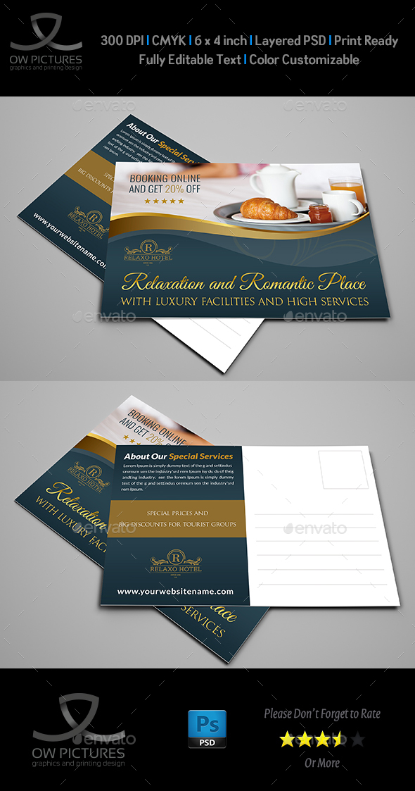 Hotel Postcard Template - Cards & Invites Print Templates