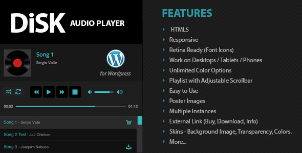 Disk Audio Player For Wordpress - CodeCanyon Item for Sale