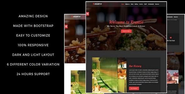 KRANTIC- Responsive Restaurant HTML5 Template - Restaurants & Cafes Entertainment
