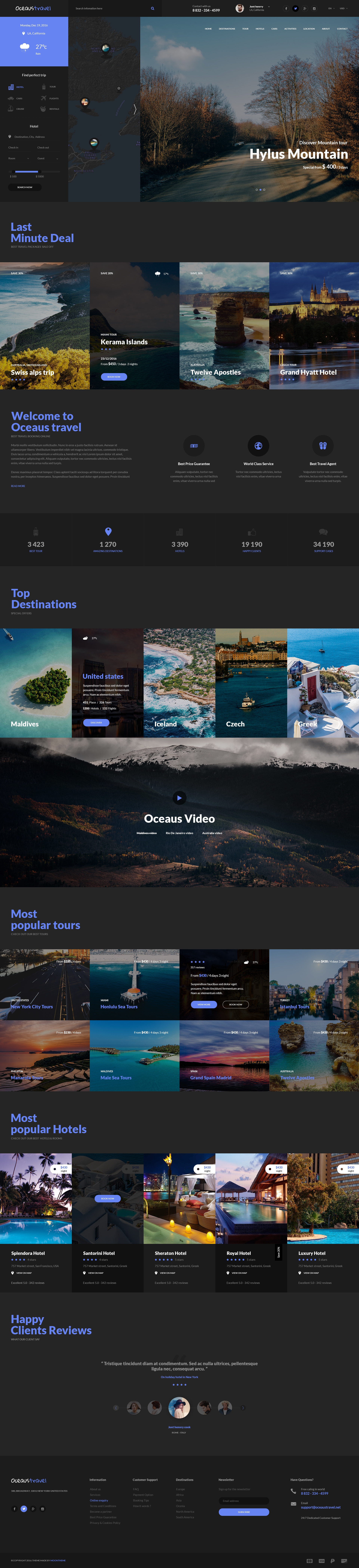 OCEAUS - Multipurpose Travel Booking PSD Template by moontheme ...