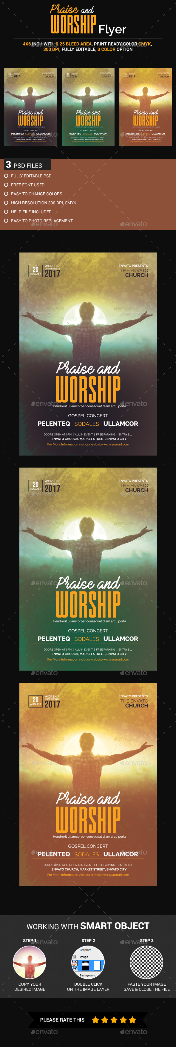 Praise and Worship Flyer - Church Flyers