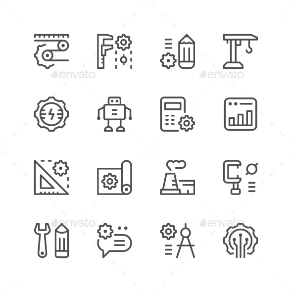 Set Line Icons of Engineering - Man-made objects Objects