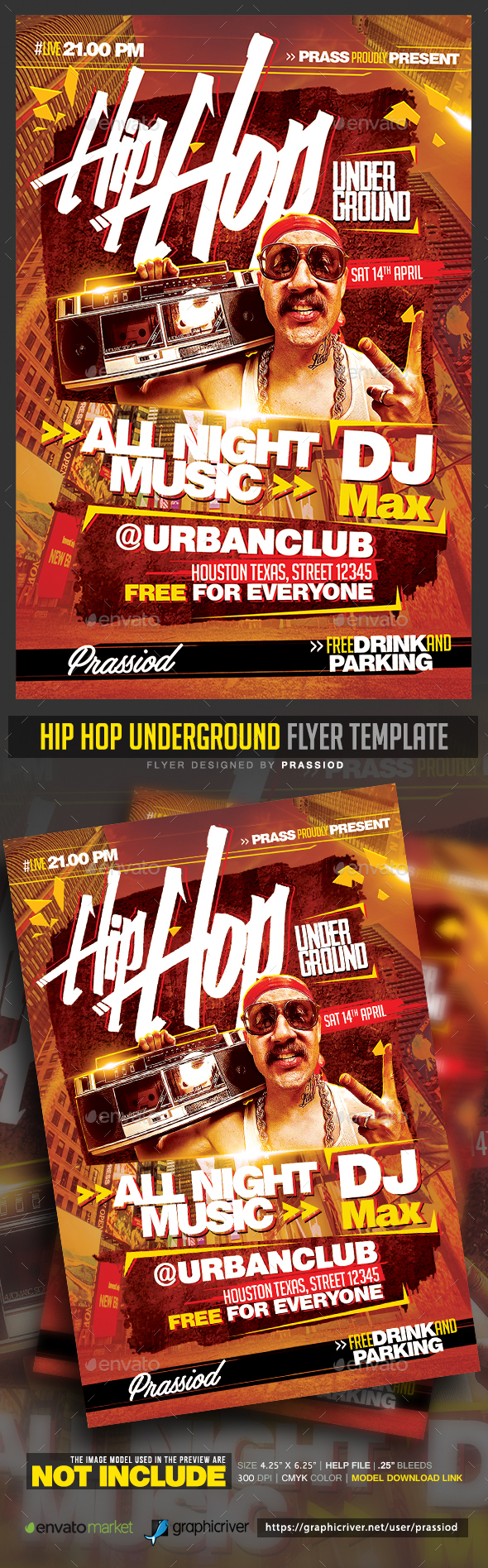 Hip Hop Underground Flyer Template - Clubs & Parties Events