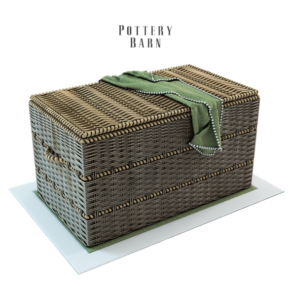 Pottery Barn Woven Trunk with Rope Handles - 3DOcean Item for Sale