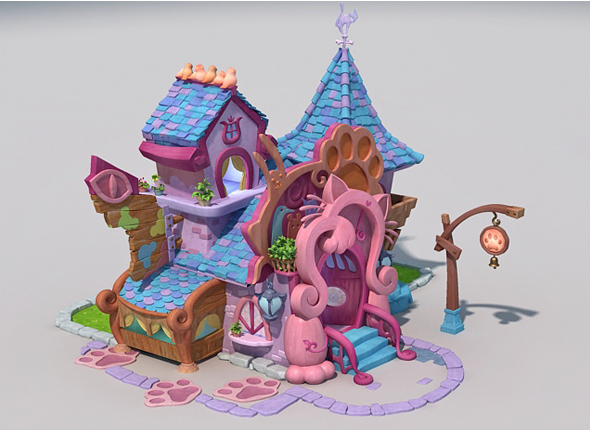 lowpoly cartoon house for Pet - 3DOcean Item for Sale