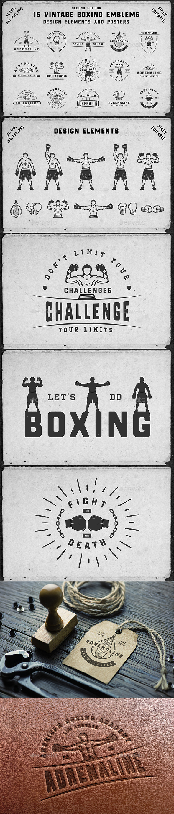 15 Boxing Emblems - Badges & Stickers Web Elements