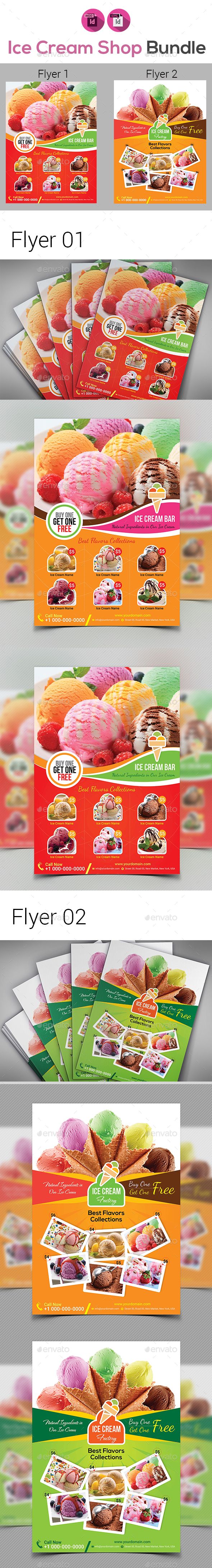 Ice Cream Shop Flyers Bundle - Flyers Print Templates
