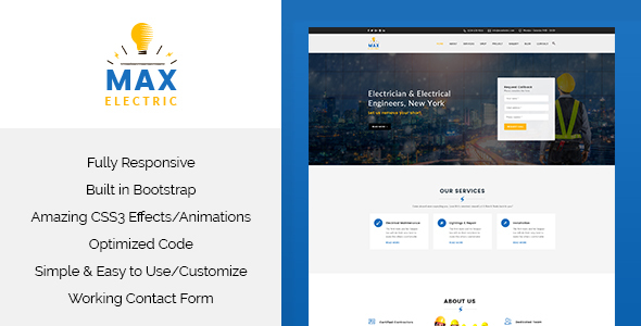 Max Electric - Electrician HTML Template - Corporate Site Templates