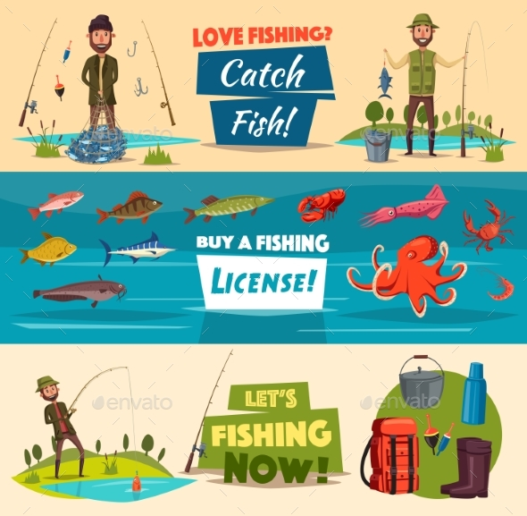 Fishing Banner Set with Fishermen and Fish - Sports/Activity Conceptual
