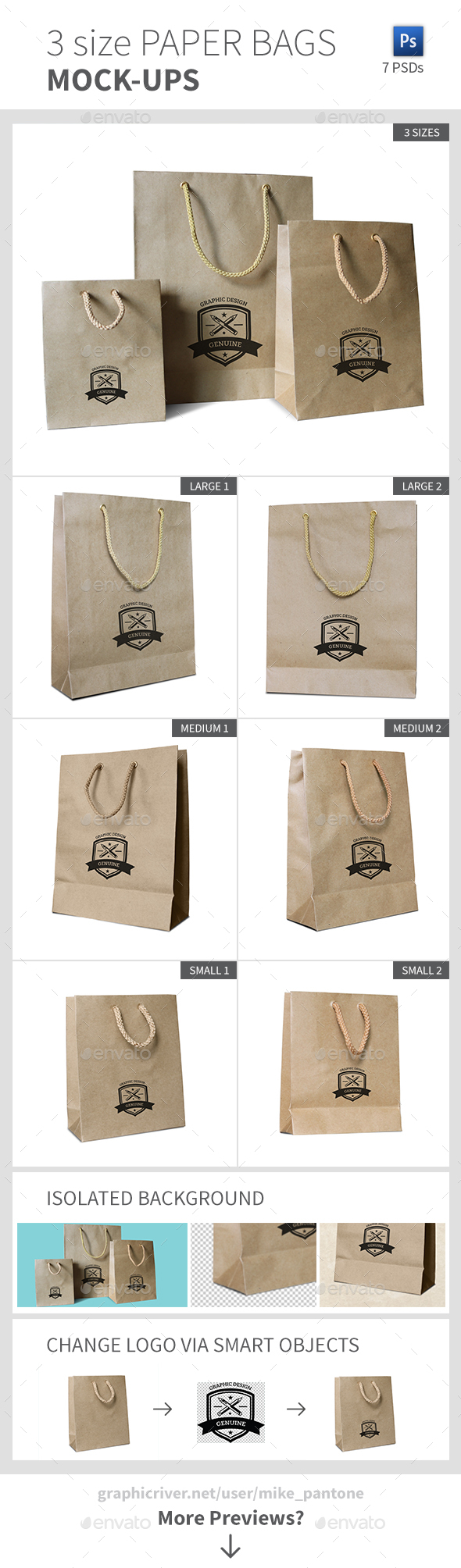 3 Size Paper Bags Mock-ups - Miscellaneous Packaging
