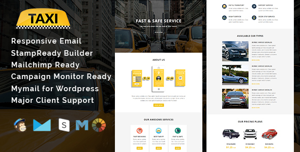 TAXI – Multipurpose Responsive Email Template With Stamp Ready Builder Access