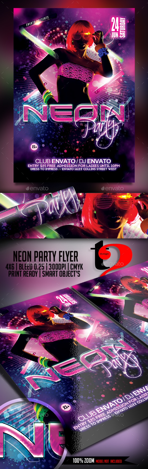 Neon Party Flyer - Template - Clubs & Parties Events