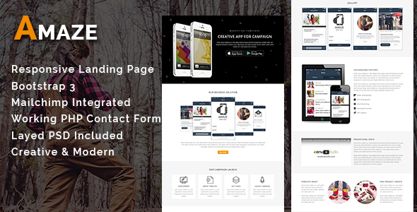AMAZE - Multipurpose Responsive HTML Landing Page - Landing Pages Marketing