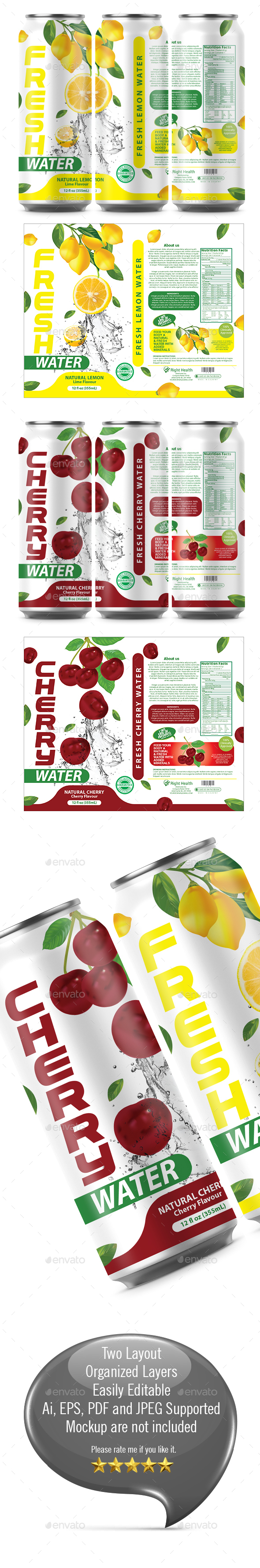 Lemon Water Label Template - Packaging Print Templates