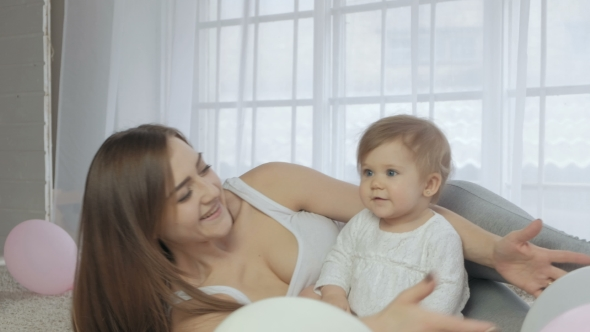 VideoHive Happy Loving Family Mother and Child Play Kisses and Hugs 19636761