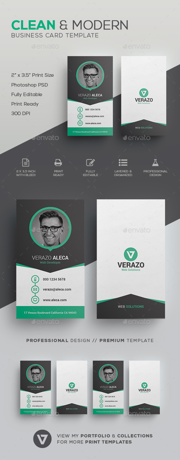 Clean modern business card template by verazo graphicriver clean modern business card template creative business cards wajeb Images