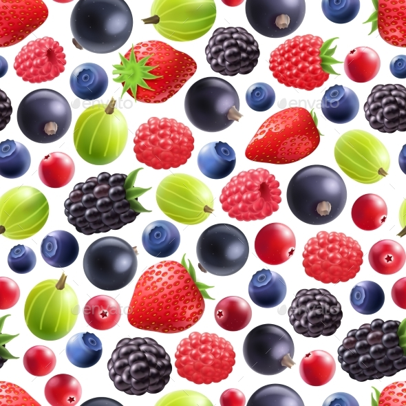 Realistic Berries Seamless Pattern - Food Objects