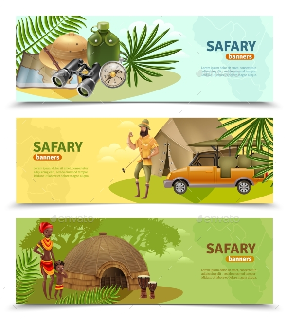 Safari Banner Set - Animals Characters