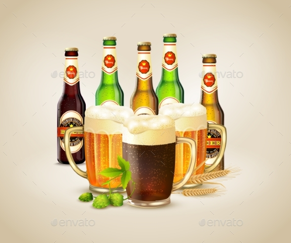 Realistic Beer Background - Food Objects
