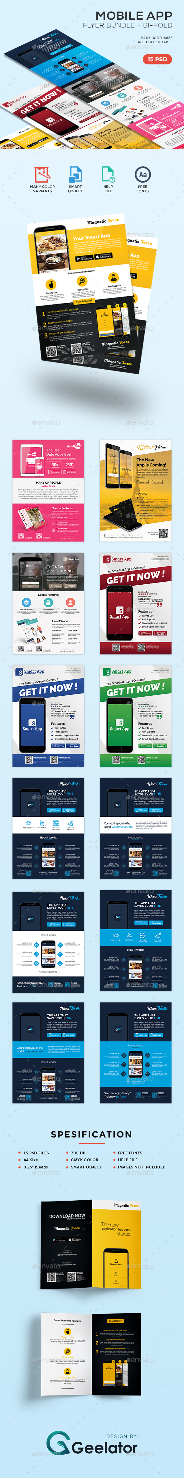 Mobile App Flyer Bundle + Bi-Fold Brochure - Commerce Flyers