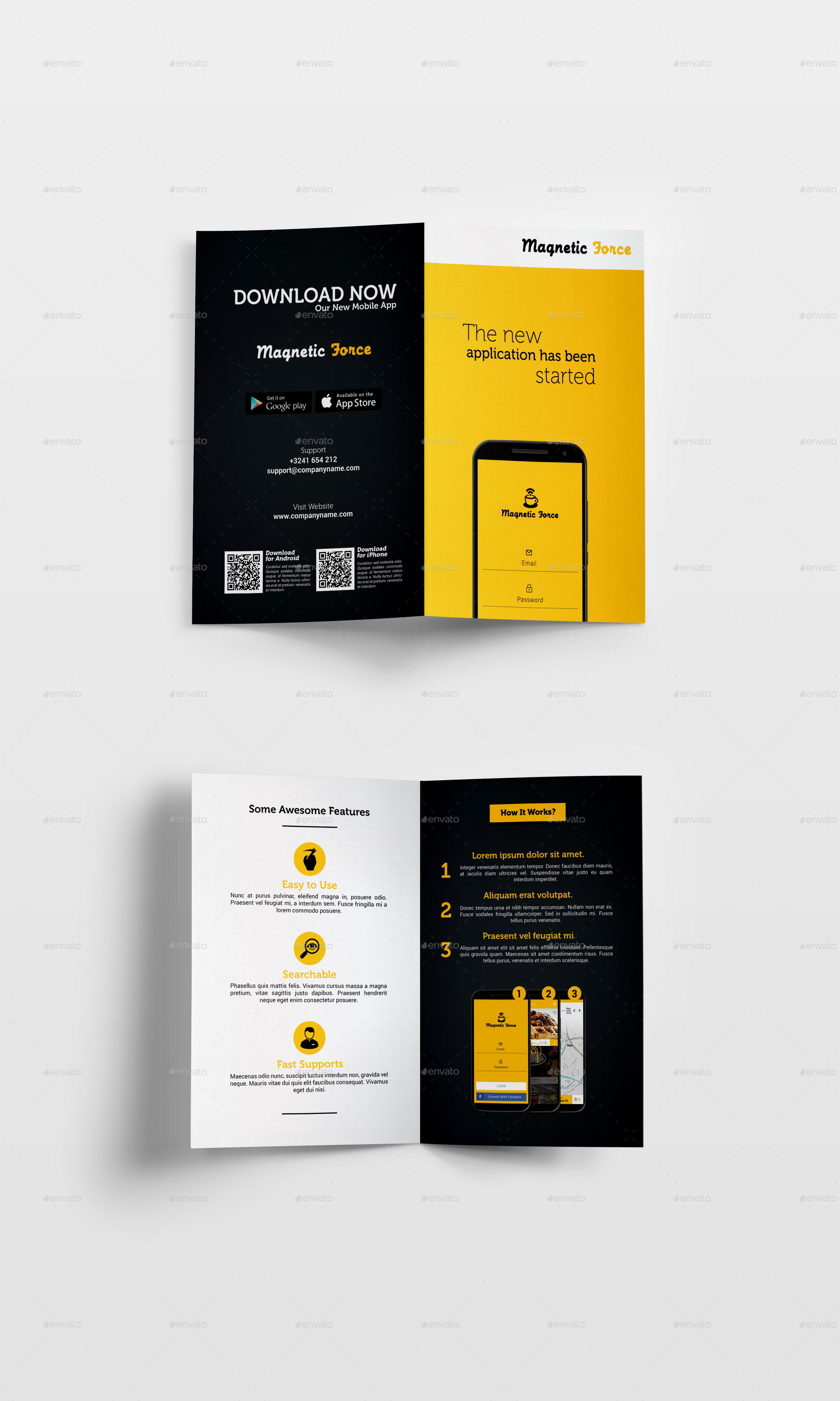 Mobile App Flyer Bundle + Bi-Fold Brochure by Geelator | GraphicRiver