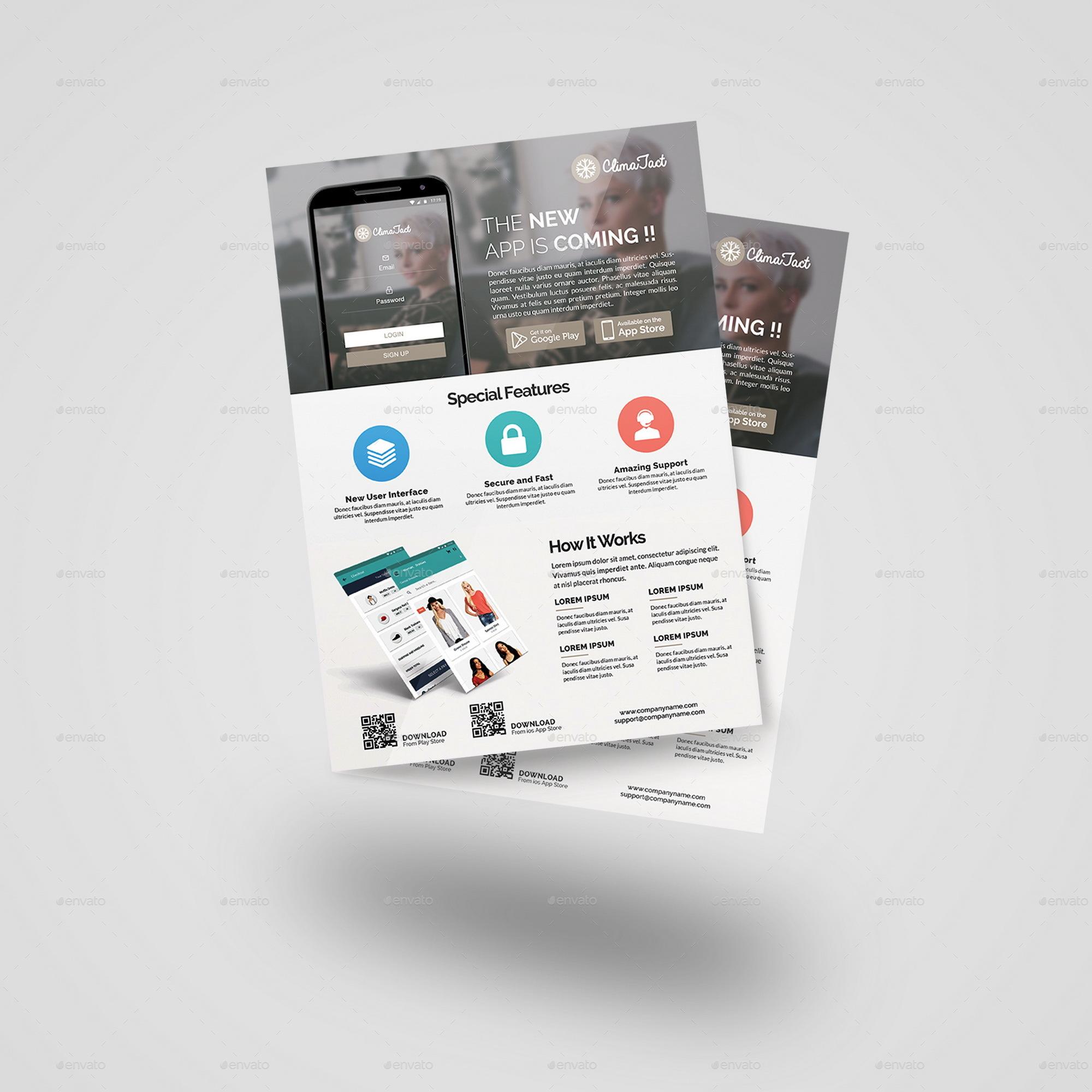 mobile app flyer bundle bi fold brochure by geelator graphicriver