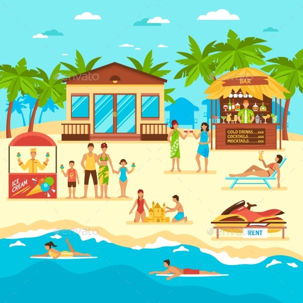 Beach Flat Style Illustration - People Characters