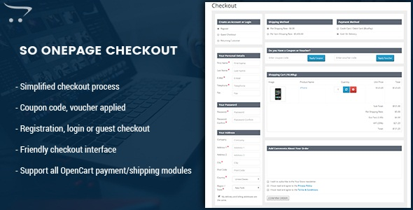 OnePage Checkout - Fast & Responsive Checkout Module for OpenCart 3.0.x & OpenCart 2.x - CodeCanyon Item for Sale