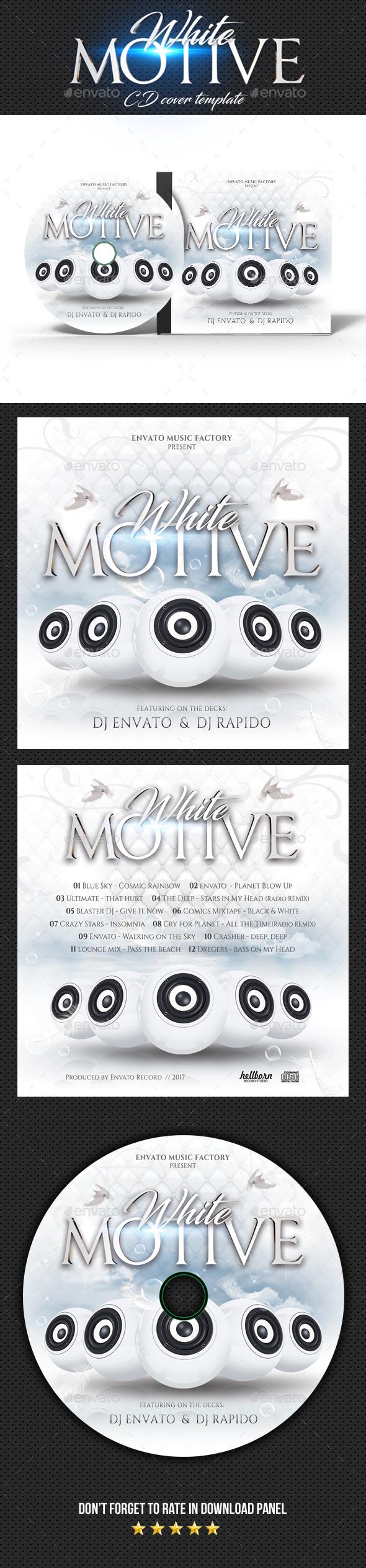White Motive CD Cover - CD & DVD Artwork Print Templates
