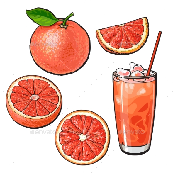 Whole, Half, Quarter Grapefruit and Glass of Juice - Food Objects