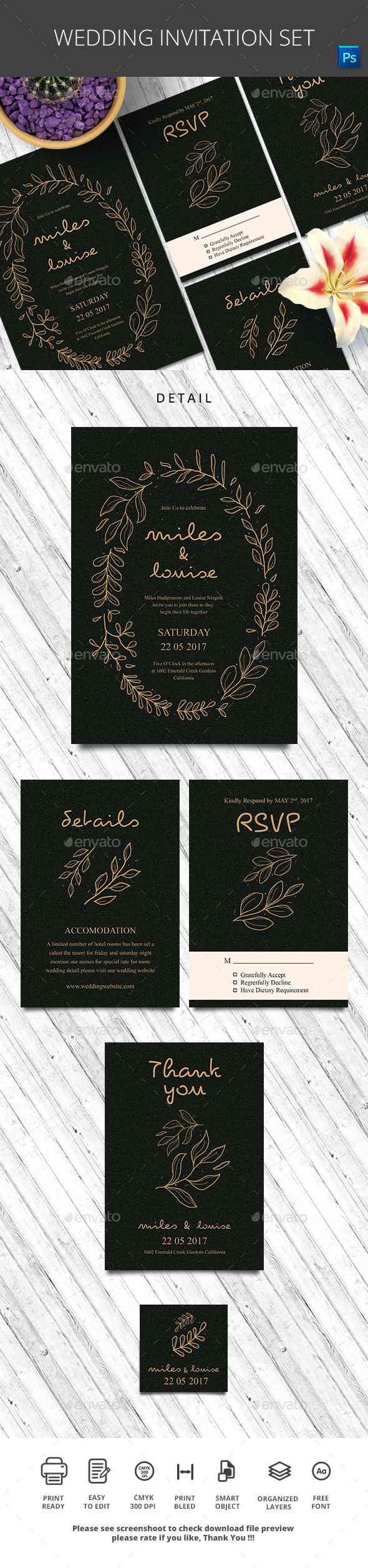 Wedding Invitation Set - Wedding Greeting Cards