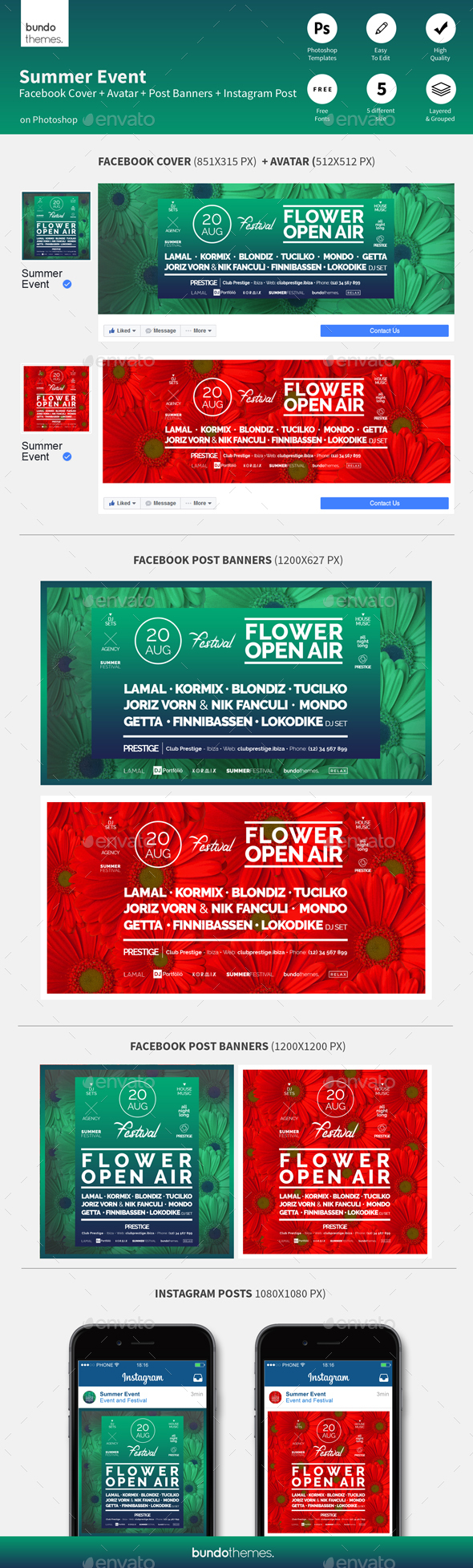 Summer Event Facebook and Instagram Banners - Social Media Web Elements