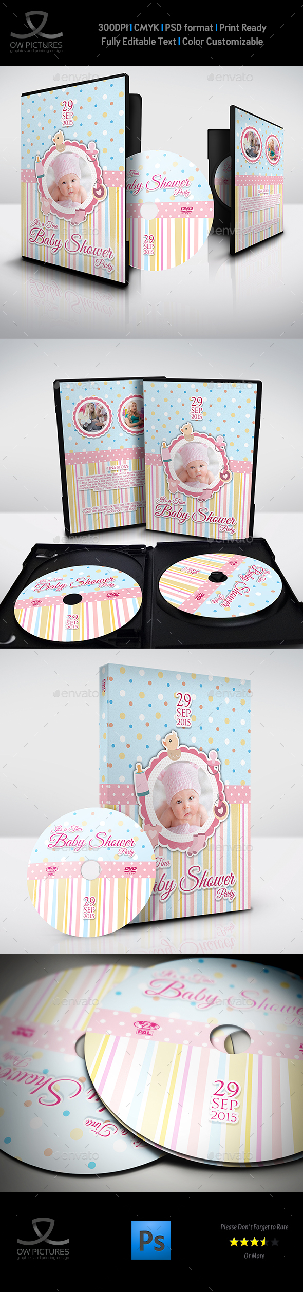 Baby Shower Party DVD Template Vol.7 - CD & DVD Artwork Print Templates