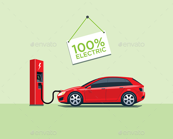 Electric Car Charging at the Charging Station - Travel Conceptual