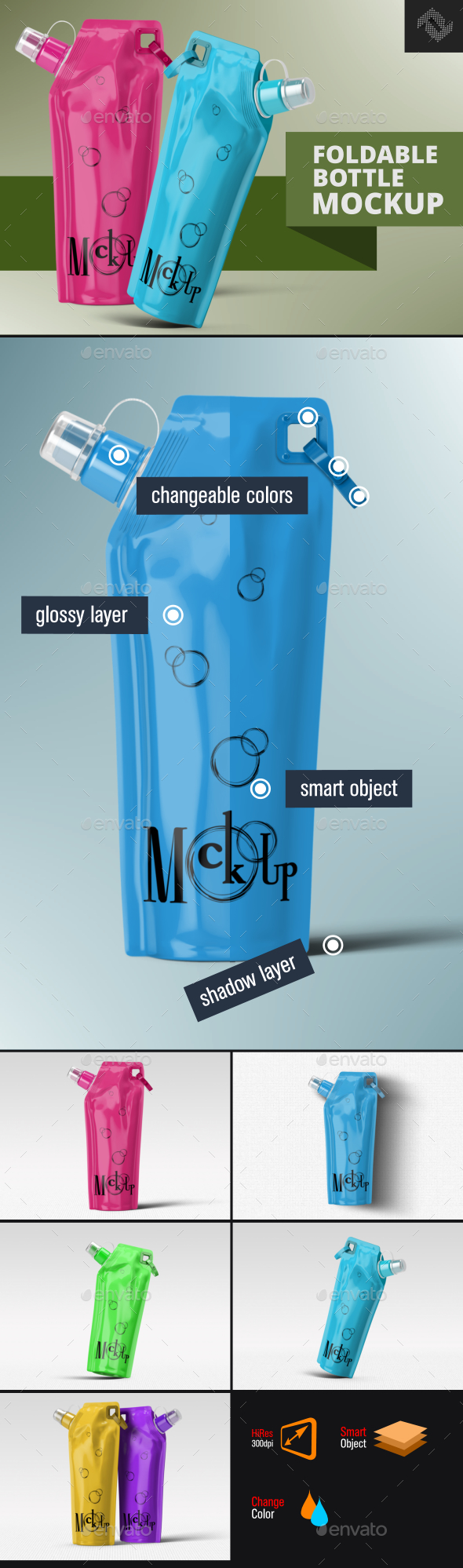 Plastic Foldable Water Bottle Mockup - Food and Drink Packaging
