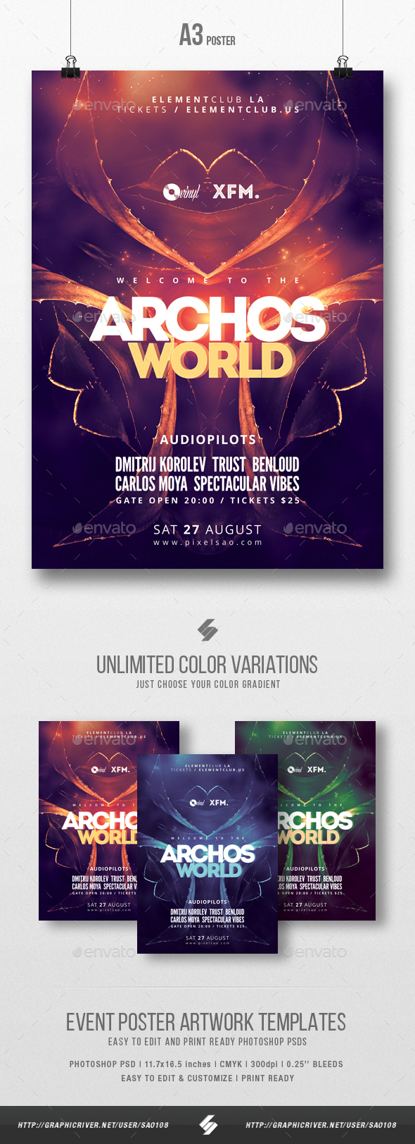 Archos World - Trance Party Flyer / Poster Template A3 - Clubs & Parties Events