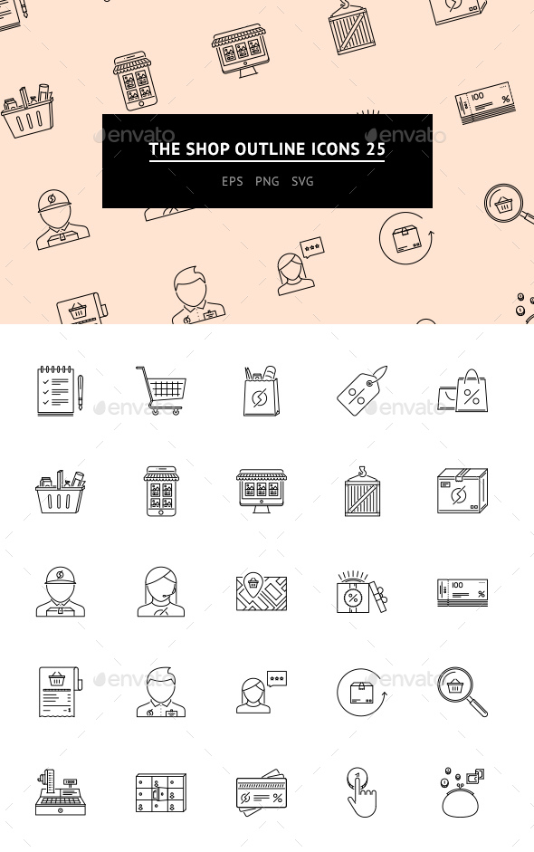 The Shop Outline Icons 25 - Web Icons