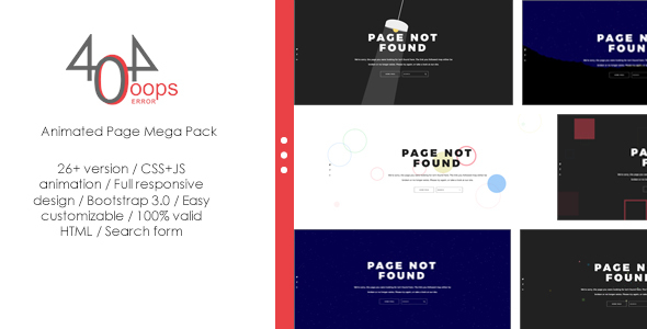 404 - Animated Page Mega Pack - 404 Pages Specialty Pages
