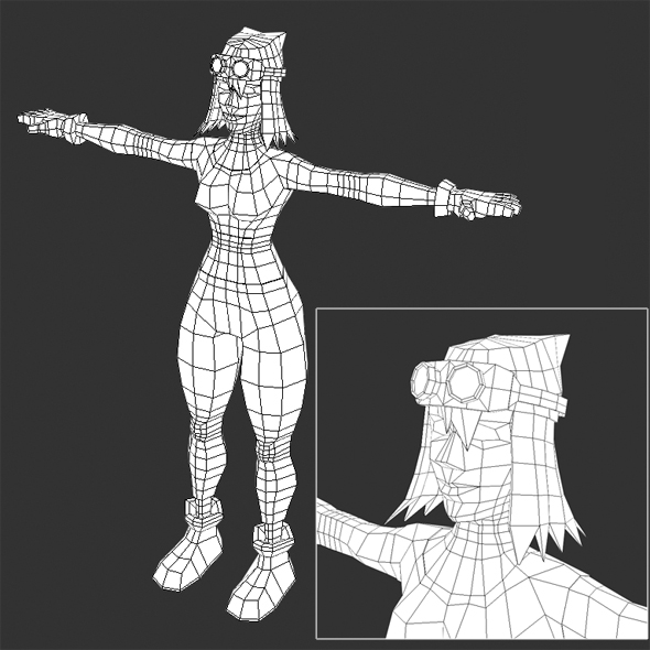 Low Poly Female Video Game Model - 3DOcean Item for Sale