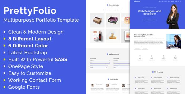 PrettyFolio – Onepage Portfolio WordPress Theme