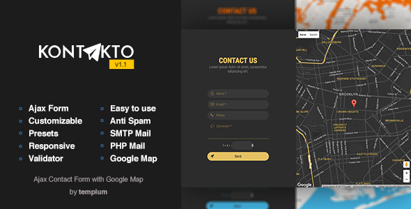 KONTAKTO – Ajax Contact Form with Styled Map
