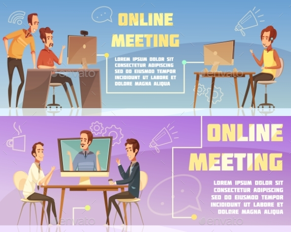 Online Meeting Banners Set - People Characters