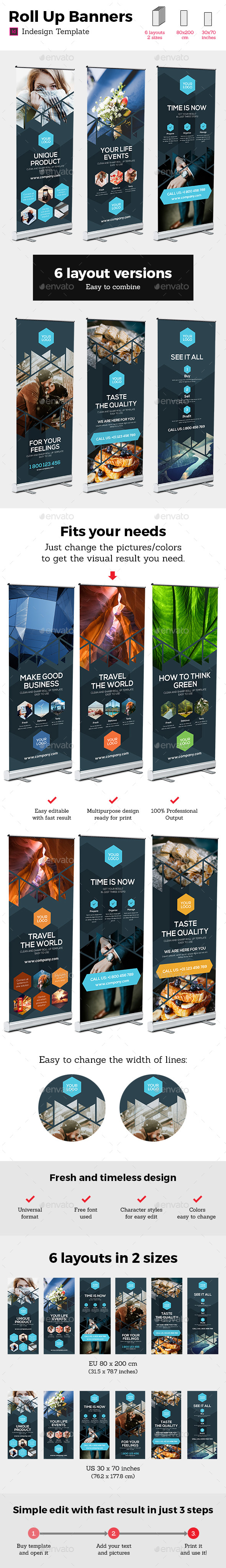 Rollup Stand Banner Display Triangle 12x Indesign Template - Signage Print Templates