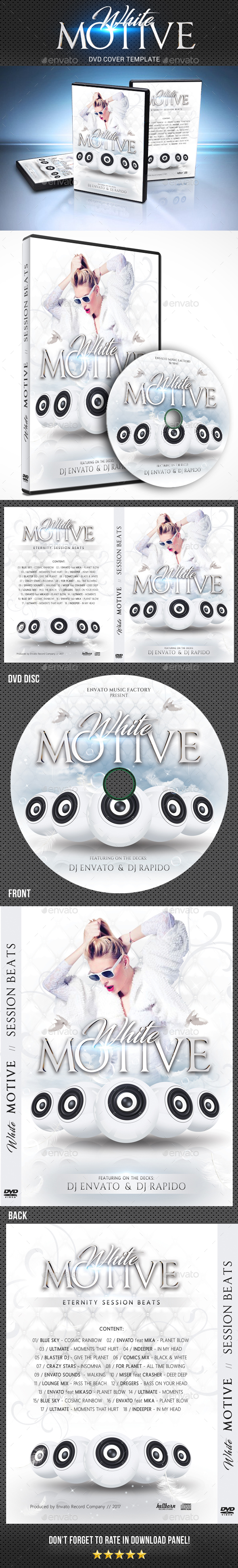 White Motive DVD Cover Template - CD & DVD Artwork Print Templates