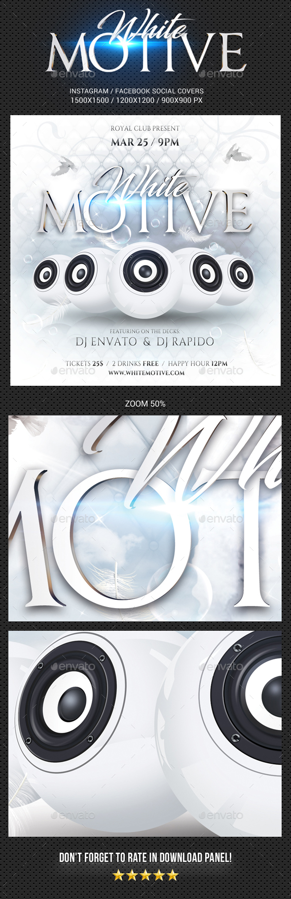 White Motive IG and FB Social Media Covers - Social Media Web Elements