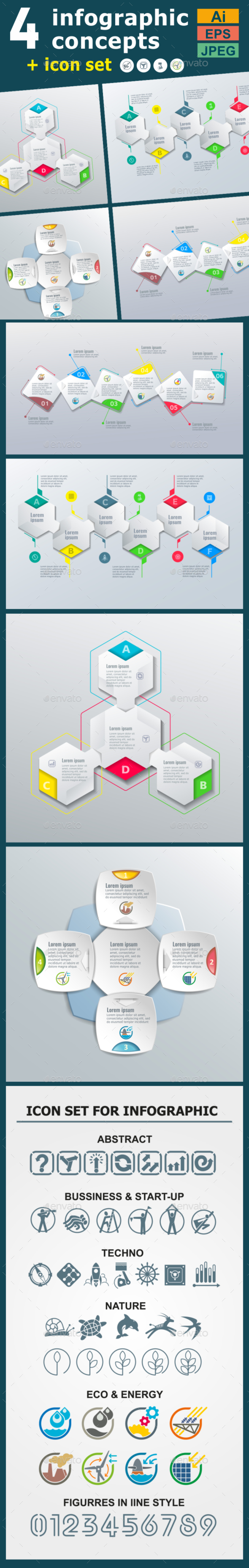 Infographic Templates in Paper Style. v.02 - Infographics