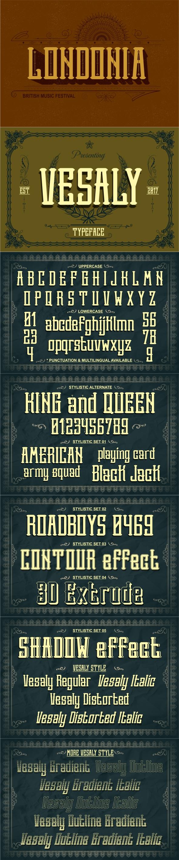 Vesaly typeface - Stencil & Type Decorative